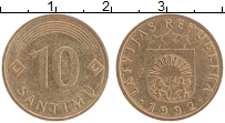 Изображение Монеты Латвия 10 сантим 1992 Медно-никель XF