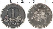 Изображение Монеты Литва 1 лит 2002 Медно-никель UNC-