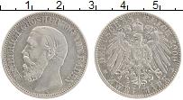 Продать Монеты Баден 2 марки 1900 Серебро