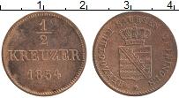 Продать Монеты Саксе-Мейнинген 1/2 крейцера 1831 Медь