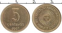 Продать Монеты Аргентина 5 сентаво 2008 сталь покрытая латунью