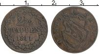 Продать Монеты Берн 2 1/2 раппа 1811 Серебро