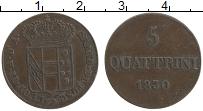 Продать Монеты Тоскана 5 кватрино 1830 Медь