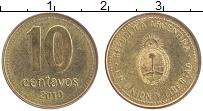 Продать Монеты Аргентина 10 сентаво 2008 сталь покрытая латунью