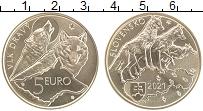 Продать Монеты Словакия 5 евро 2021 Латунь