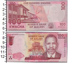 Изображение Банкноты Африка Малави 100 квач 2014  UNC-