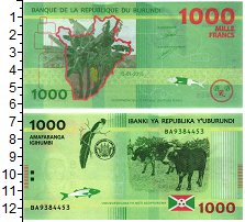 Изображение Банкноты Бурунди 1000 франков 2015  UNC Коровы