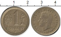 Изображение Дешевые монеты Европа Испания 1 песета 1980 Медь XF