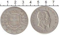 Изображение Монеты Италия 5 лир 1874 Серебро VF