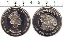 Изображение Монеты Фолклендские острова 50 пенсов 2002 Медно-никель XF Елизавета II. Золото