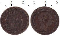 Изображение Монеты Испания 5 сентим 1877 Медь VF