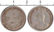 Изображение Монеты Германия Немецкая Африка 1/4 рупии 1910 Серебро XF