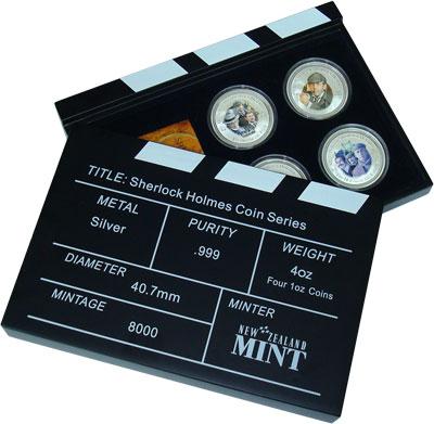 Изображение Подарочные монеты Новая Зеландия Острова Кука Шерлок Холмс 2007 Серебро Proof