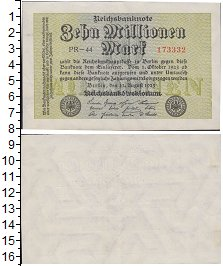 Изображение Банкноты Веймарская республика 10000000 марок 1923  XF
