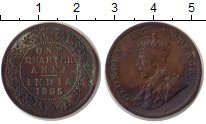 Изображение Монеты Индия 1/4 анны 1935 Медь XF Колония Англии. Коро