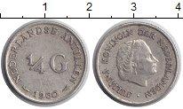 Изображение Монеты Нидерланды Антильские острова 1/4 гульдена 1960 Серебро