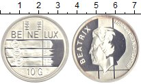 Изображение Монеты Бельгия 10 гульденов 1994 Серебро Proof 50 лет объединения.