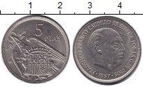 Изображение Дешевые монеты Не определено 5 песет 1957 Медно-никель XF
