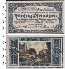 Изображение Банкноты Германия : Нотгельды 50 пфеннигов 1921  XF Выпуск 1 июля 1921 г