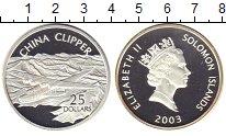 Изображение Монеты Соломоновы острова 25 долларов 2003 Серебро Proof Елизавета II.  Самол