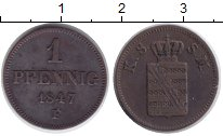 Изображение Монеты Саксония 1 пфенниг 1847 Медь XF Фридрих Август II