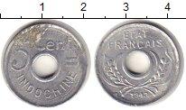 Изображение Монеты Индокитай 5 центов 1943 Алюминий VF Французский протекто