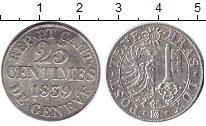 Изображение Монеты Швейцария Женева 25 сентим 1839 Серебро XF