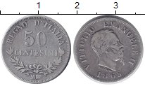 Изображение Монеты Европа Италия 50 сентесим 1863 Серебро XF-