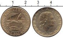 Изображение Монеты Италия 200 лир 1992 Латунь UNC