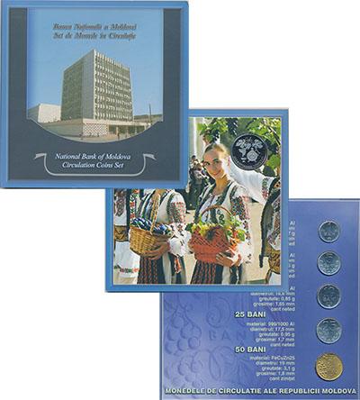 Изображение Подарочные монеты СНГ Молдавия Набор 2003-05 гг, 0  UNC