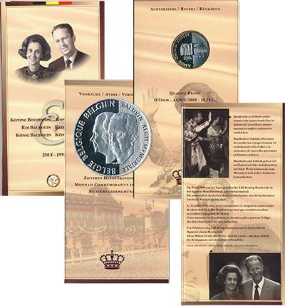 Изображение Подарочные монеты Европа Бельгия 70 лет Королеве Фабиоле 1998 Серебро UNC