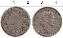 Изображение Монеты Европа Швейцария 20 рапп 1884 Медно-никель XF