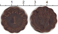 Изображение Монеты Кипр 1 пиастр 1944 Бронза XF-