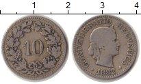 Изображение Монеты Европа Швейцария 10 рапп 1882 Медно-никель VF