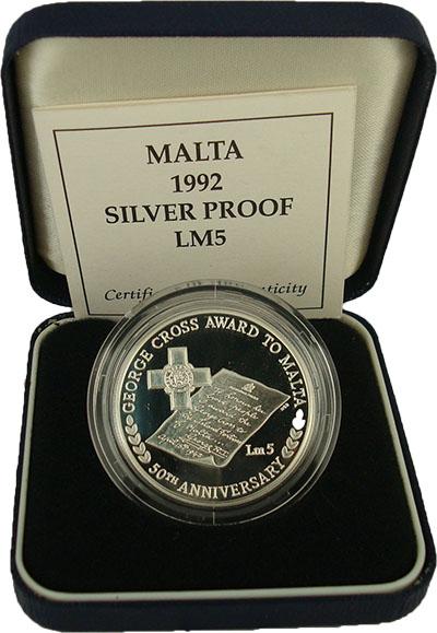 Изображение Подарочные монеты Мальта 5 лир 1992 Серебро Proof