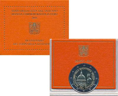 Изображение Подарочные монеты Ватикан 200 лет Папской жандармерии 2016 Биметалл UNC