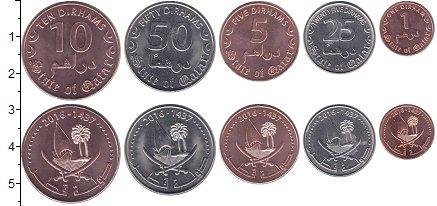 Изображение Наборы монет Азия Катар 1 - 50 дирхамов 2016 Медно-никель UNC
