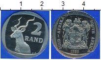 Изображение Мелочь ЮАР 2 ранда 1989 Медно-никель Proof- Антилопа - прыгун. В