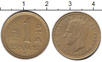 Изображение Дешевые монеты Испания 1 песета 1980 Медь F