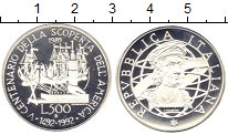 Изображение Монеты Италия 500 лир 1989 Серебро Proof