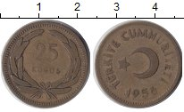 Изображение Монеты Азия Турция 25 куруш 1956 Латунь VF