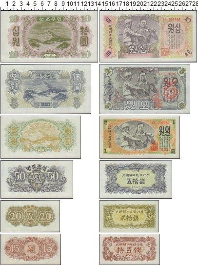 Изображение Банкноты Северная Корея набор банкнот 1947  XF