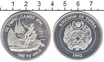 Изображение Монеты Тонга 1 паанга 1992 Серебро Proof Олимпиада 1996.