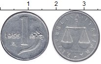 Изображение Монеты Италия 1 лира 1955 Алюминий XF