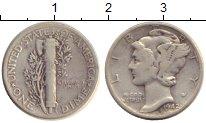 Изображение Монеты Северная Америка США 1 дайм 1942 Серебро