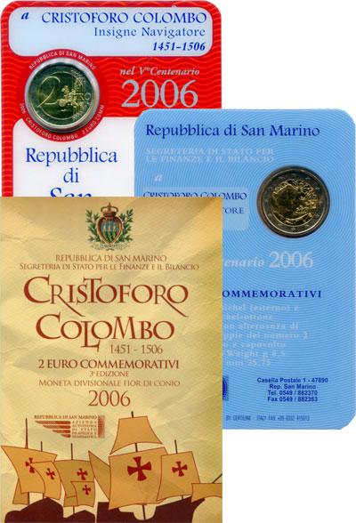 Изображение Подарочные монеты Сан-Марино Христофор Колумб 2006  UNC