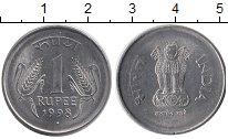 Изображение Дешевые монеты Индия 1 рупия 1998 нержавеющая сталь XF