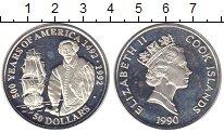 Изображение Монеты Новая Зеландия Острова Кука 50 долларов 1990 Серебро Proof