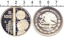 Изображение Монеты Мексика 100 песо 1985 Серебро Proof- Чемпионат  мира  по