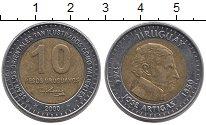 Изображение Монеты Уругвай 10 песо 2000 Биметалл XF